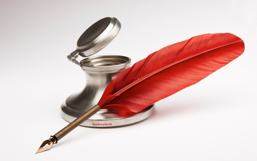 Antique Red Quill-Pen & Inkwell by BOX Security Ltd